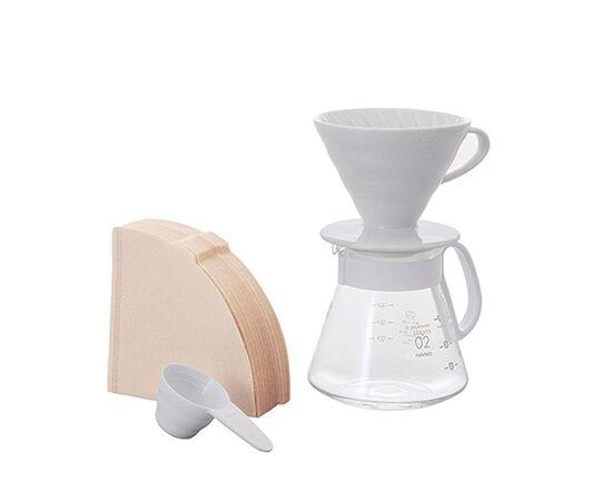 Набор Hario V60 белая керамическая воронка 02 и кофейник, фото
